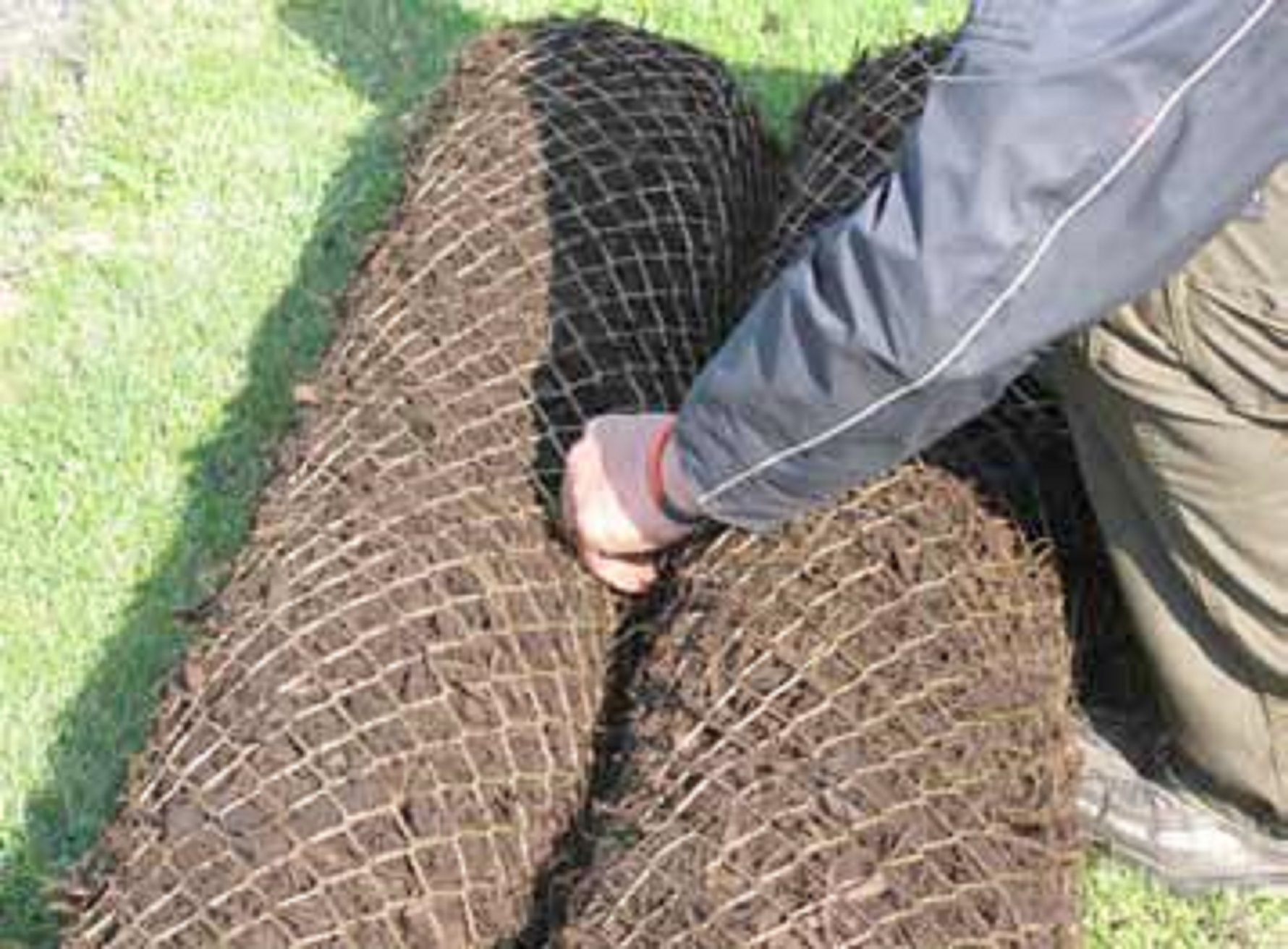 Aqualog biochar fibre rolls are available in 2 by 0.2m units