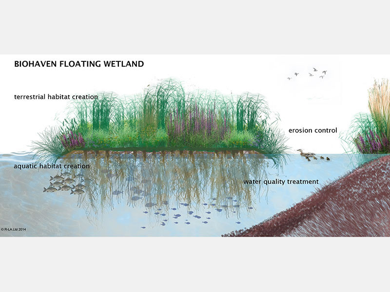 BioHaven is designed to mimic a natural floating island, cleansing water naturally