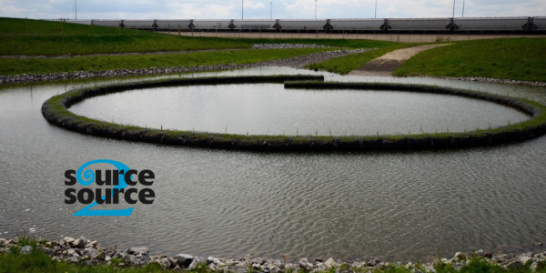Completed Joffre stormwater Nautilus Pond™, June 2015. Photo used with permission from Source2Source Inc.