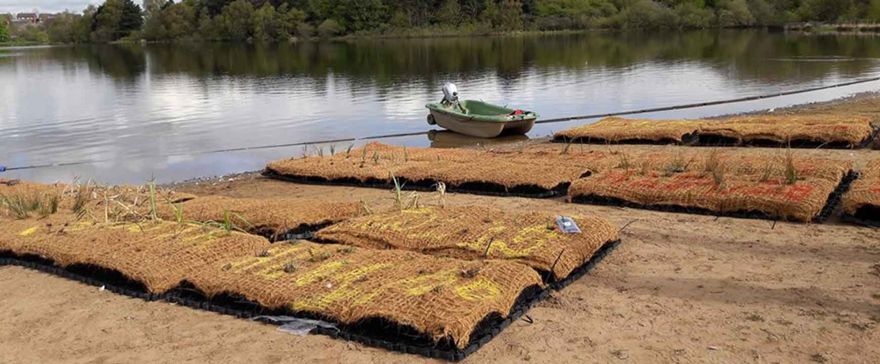 BioHaven modules being prepared for launch at Hogganfield Loch, Glasgow