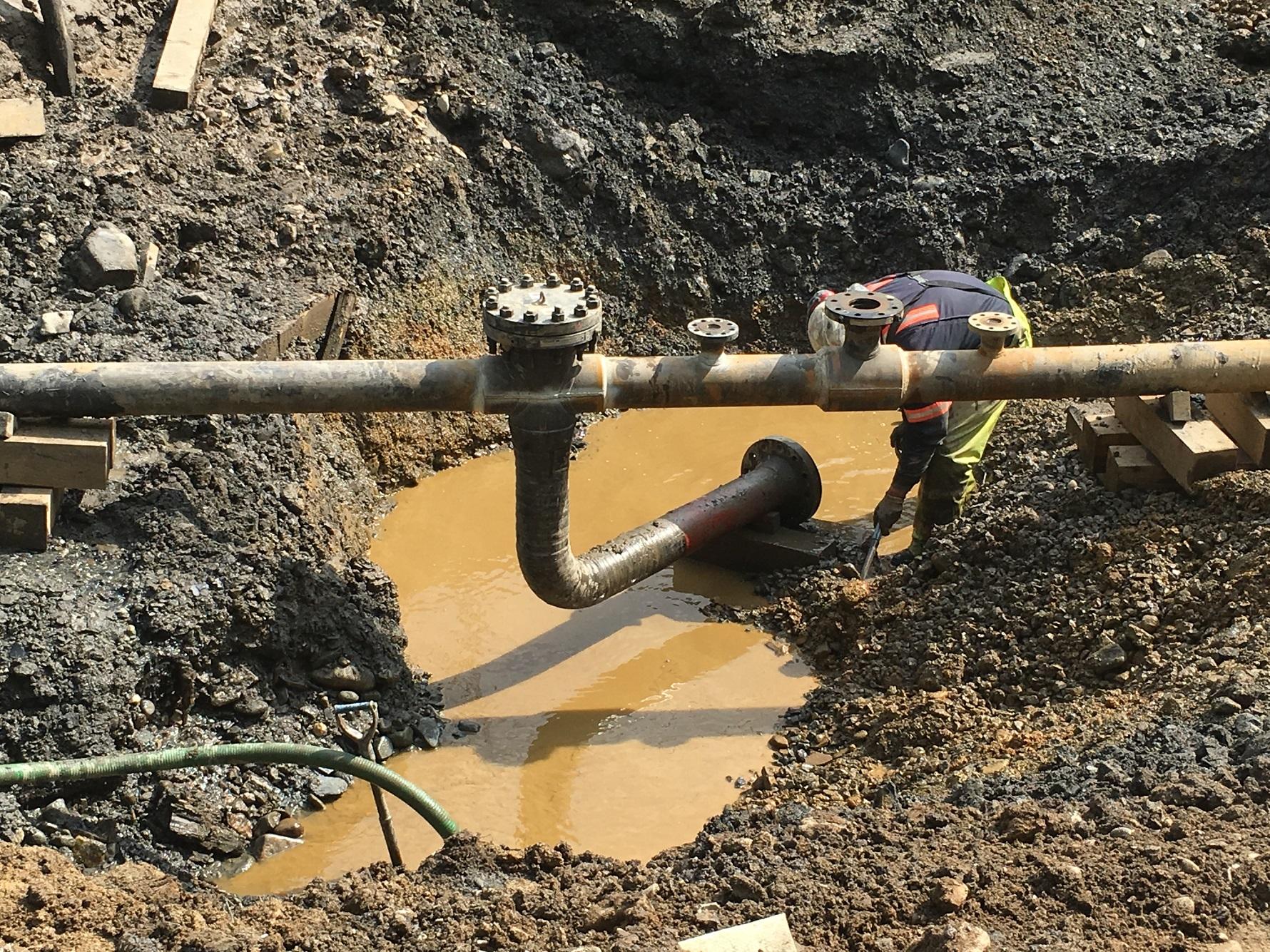 Excavation being pumped